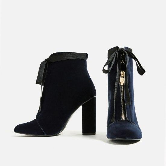 Zara Navy Velvet Bootie