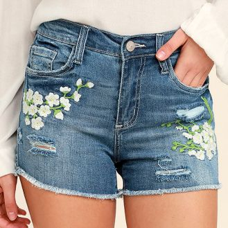 Lulus- Meadow Denim Shorts