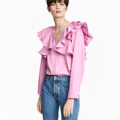 hm pink ruffle top