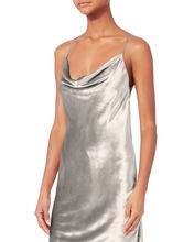 metallic slip dress