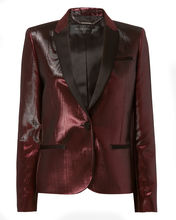 red metallic blazer