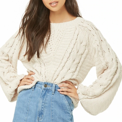 f21cream sweater cable knit